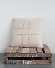 Square Cotton Mudcloth Pillow with Fringed Cross Pattern