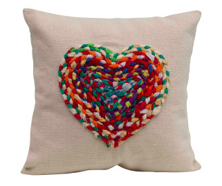 Appliqué Chindi Heart Square Cotton Pillow