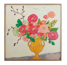 Flowers in Yellow Vase w/Wood Framed Wall Décor