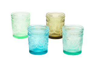 12 oz. Embossed Drinking Glass, 4 Colors