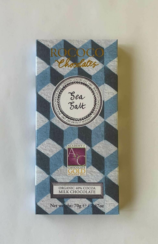 Rococo Sea Salt Organic Milk Chocolate Bar