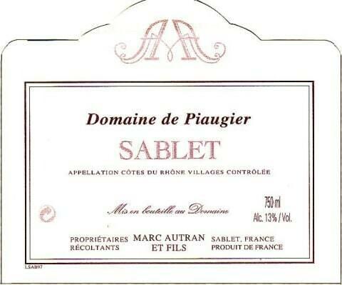 Piaugier Sablet Cotes du Rhone Village