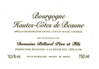 Billard Pere Hautes Cotes de Beaune Rouge 750ml - organic