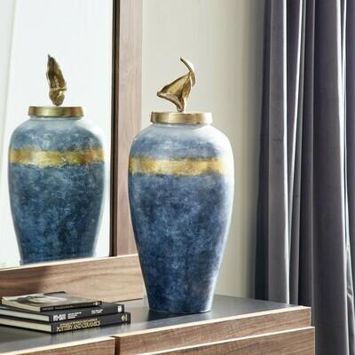 """Glass Blue Vase 12"""""""