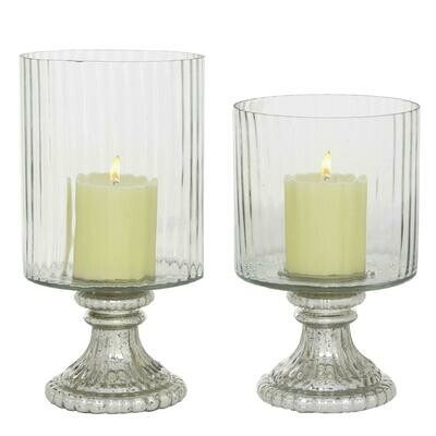 S/2 Glass Hurricane Candleholders
