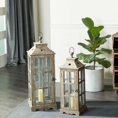 Wood Lantern Set 2
