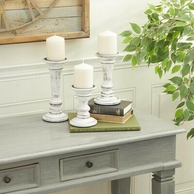 Antique White Candleholders Set of 3