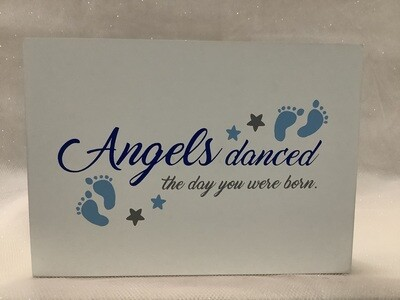 Box Sign - Angels Danced on Day You Were Born - Blue