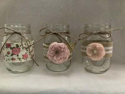 Pint jar unpainted w/lace