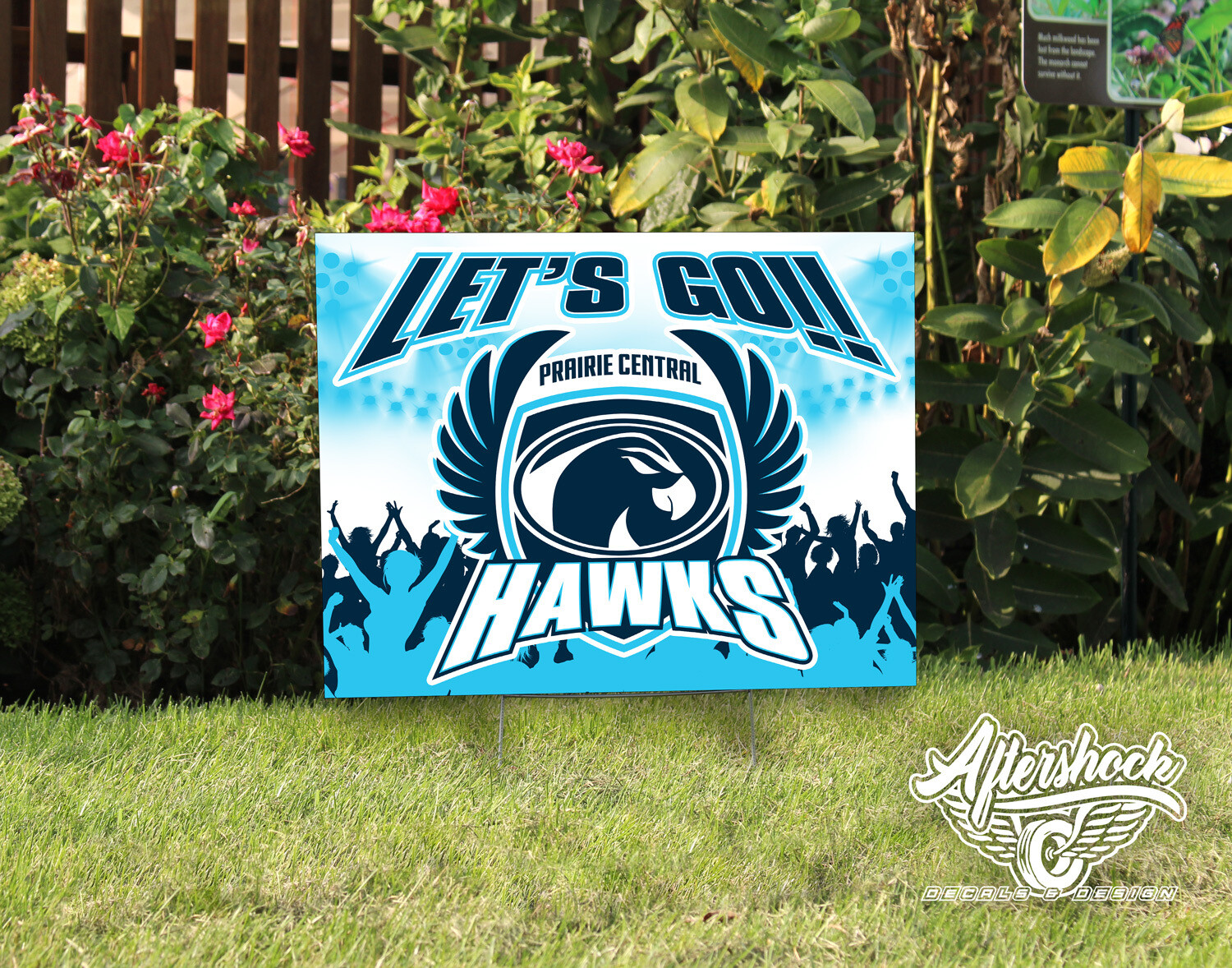 Let's Go Hawks with Crowd- Yard Sign