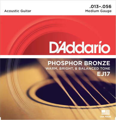 D'Addario EJ17 Phosphor Bronze - Medium -13-56