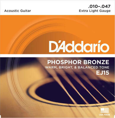 D'Addario EJ15 Phosphorus Bronze - Extra Light - 10 - 47