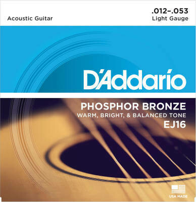 D'Addario EJ16 Phosphor Bronze - Light - 12-53