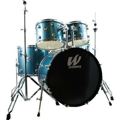 Westbury 5pcs.Studio Drumset w/ Throne - Aqua Sparkle
