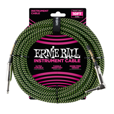 Ernie Ball 10' Straight/Angle Braided Instrument Cable - Green/Black