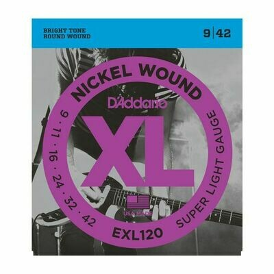 D'ADDARIO EXL120 Xl Nickel Wound Super Light Gauge Electric Guitar Strings 10-46