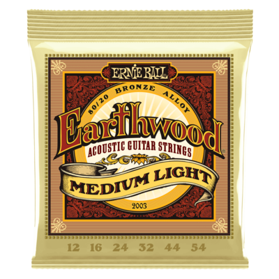 Ernie Ball - Earthwood Bronze Alloy Acoustic Guitar Strings - Medium Light - 12-54
