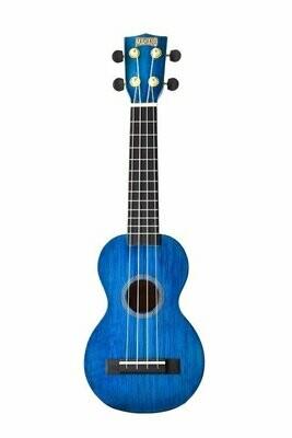 Mahalo Hano Soprano Ukulele - MH1TBU-U - Trans Blue