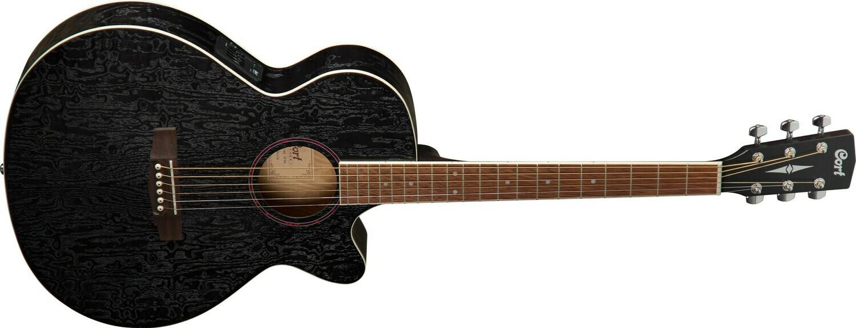 Cort SFX Series Ash Burl Acoustic Guitar, Open Pore Black