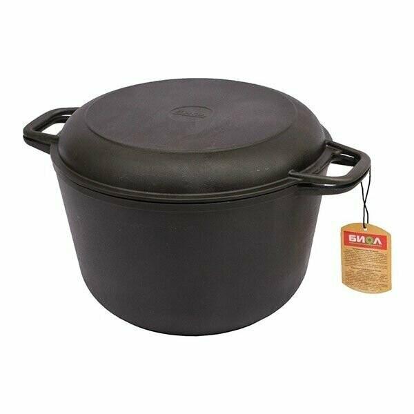 Кастрюля чугунная 4л с крышкой-сковородой