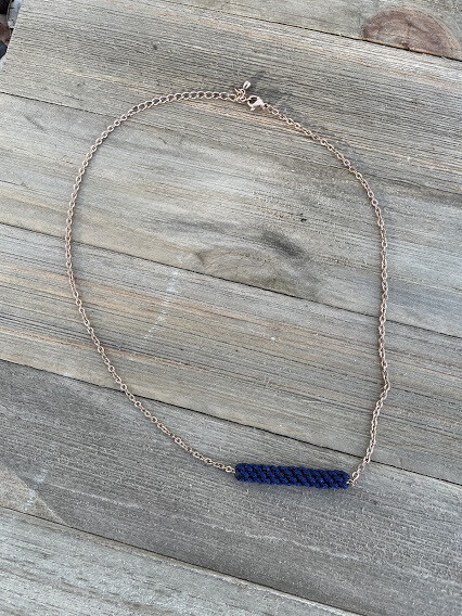 Bar of Courage Navy Necklace