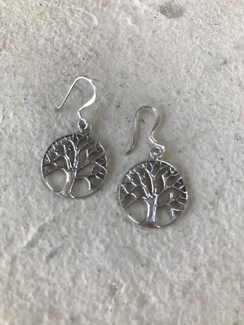 Bare Oak Tree Silver Earrings