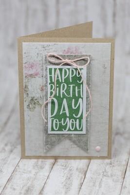 """Karte """"Happy Birthday"""" mit Wimpel"""