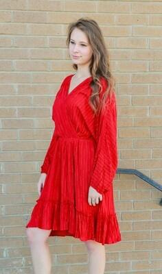 Red Dress w Gold Stripes