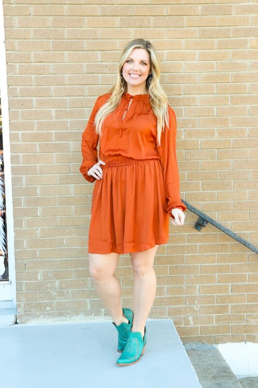 Rust Smocked Dress