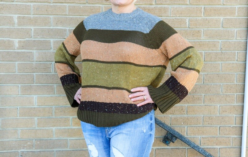 Olive Mix Striped Sweater