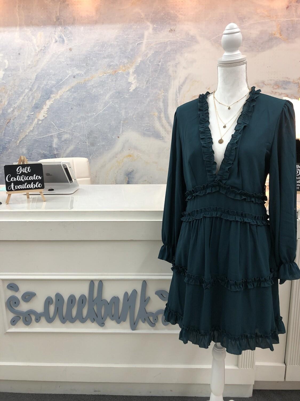 Green Open Back Ruffle Dress