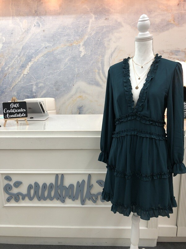 Green Open Back Ruffle Dress