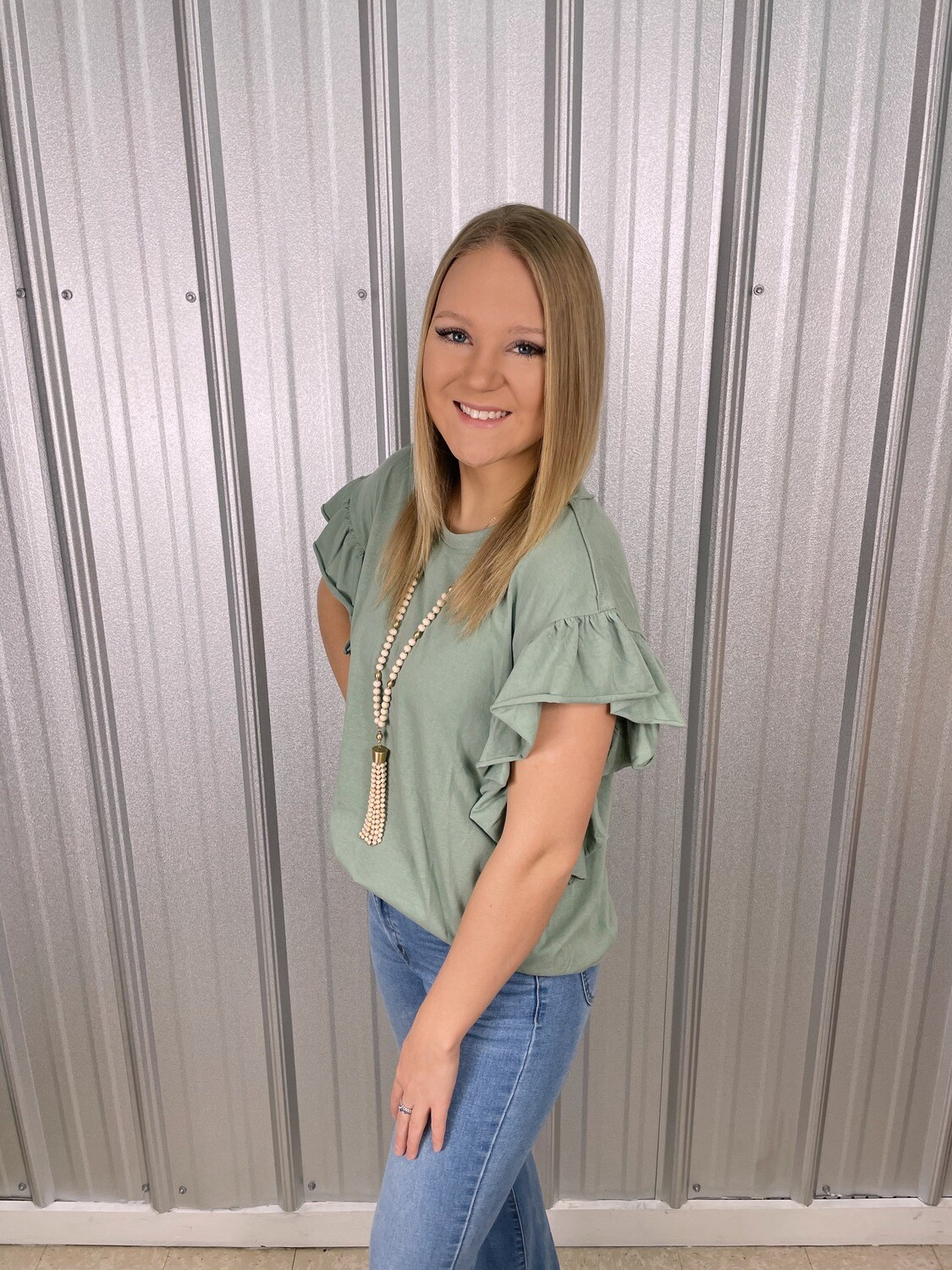 Mint Shoulder Ruffle Top