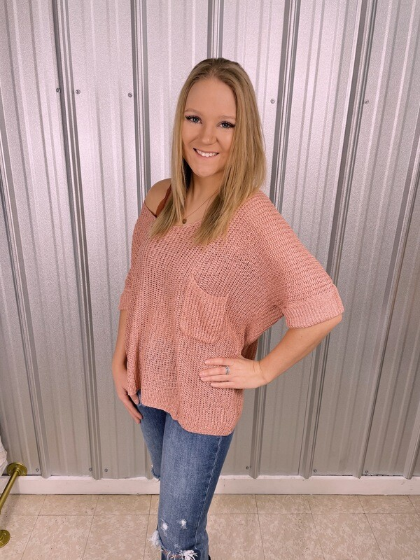 Coral Knit Sweater Top