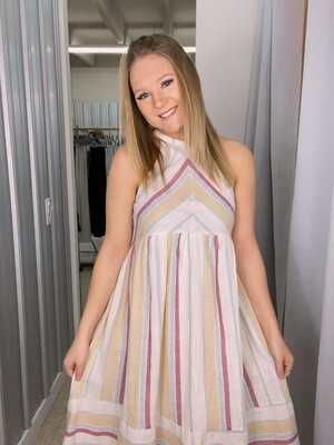 Striped Halter Neck Dress
