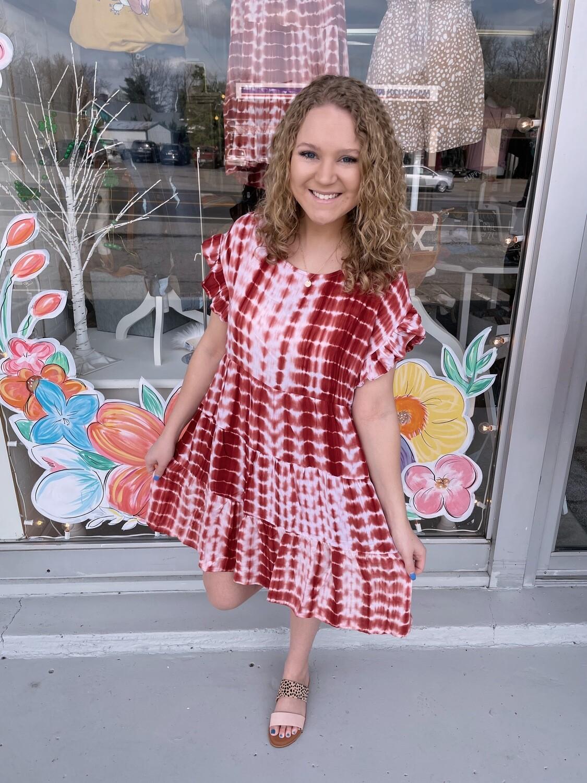 Red Tie-Dye Dress