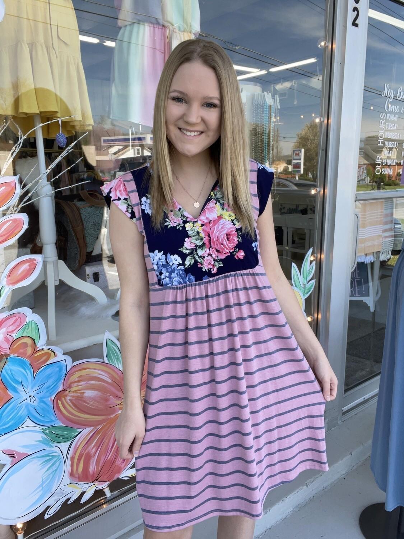 Pink/Navy Floral Stripe