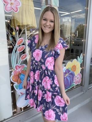 Navy Rose Dress