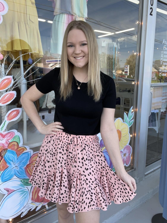 ruffle leopard skirt