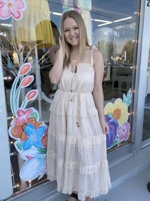 Nude Ruffle Midi Dress