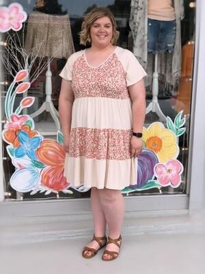 Taupe/Blush Colorblock Dress