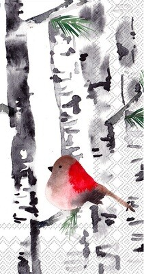 Christmas bird in birch lunch napkins