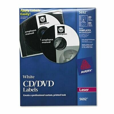 Avery CD Labels, Matte white, Inkjet, 40/pk