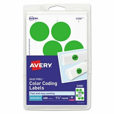"Avery Laser Color Coding Labels, 1 1/4"" Dia., Neon Green, 400/Pack"