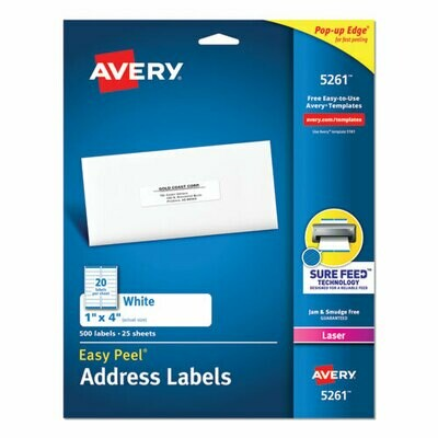 "Avery Address Labels, Laser Printers, White, 1"" x 4"""