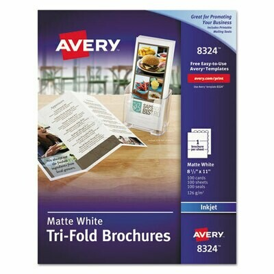 Avery Tri-Fold Brochures, 92 Bright, 83lb, 8.5 x 11, Matte White, 100/Pack