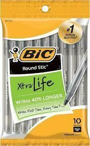 BIC Round Stic Xtra Life Ballpoint Pens, Medium Point, Black Ink, 10/Pack