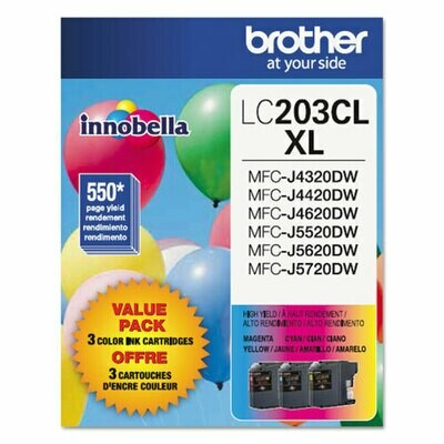 Brother LC 203XL Color Combination Ink Cartridges, High Yield