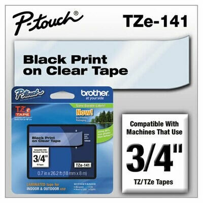 "Brother TZe 141 Label 3/4"" - Black Print On Clear Tape"