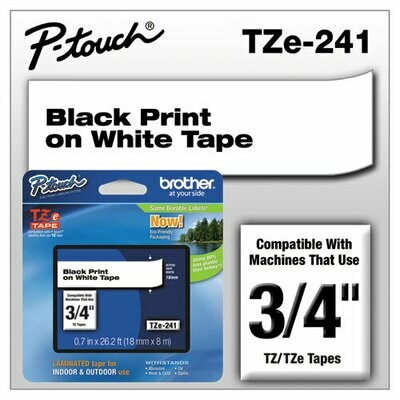 "Brother TZe 241 Label 3/4"" - Black Print On White Tape"